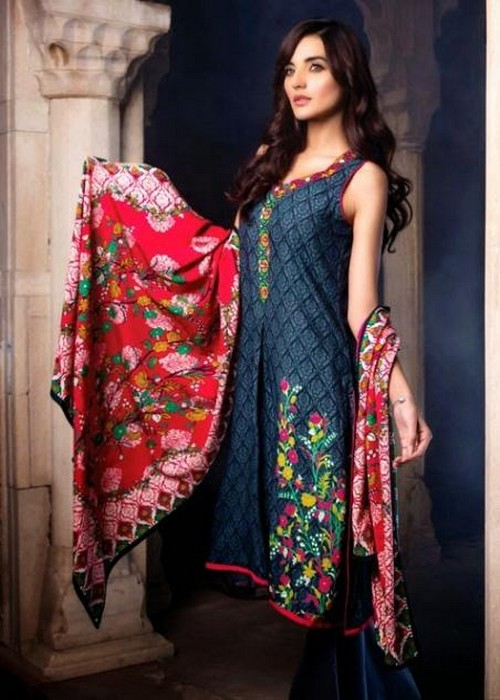 Al Karam Winter Dresses Women Red Color Style