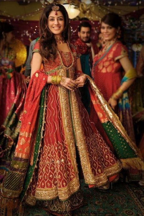 Beautiful Angrakha Style Bridal Mehndi Dresses Collection