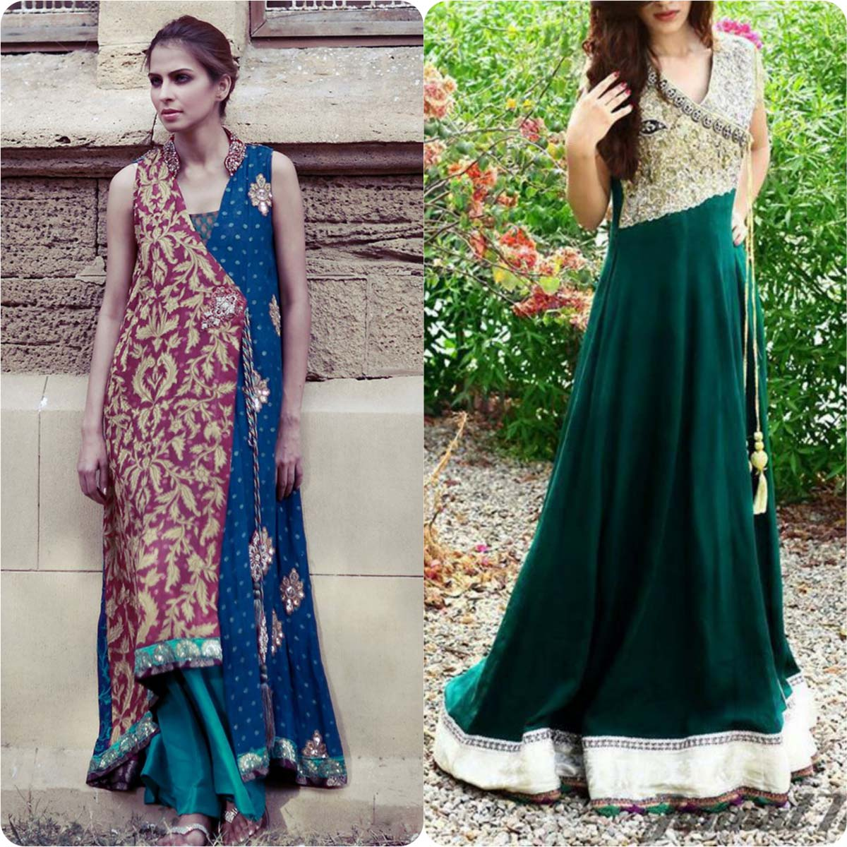 Stylish Angrakha Style Frocks Collection for Women