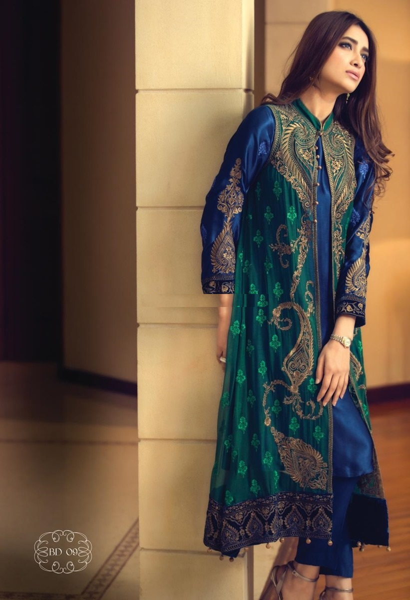 Front Open Double Shirt Style Long Tail Gown Frock
