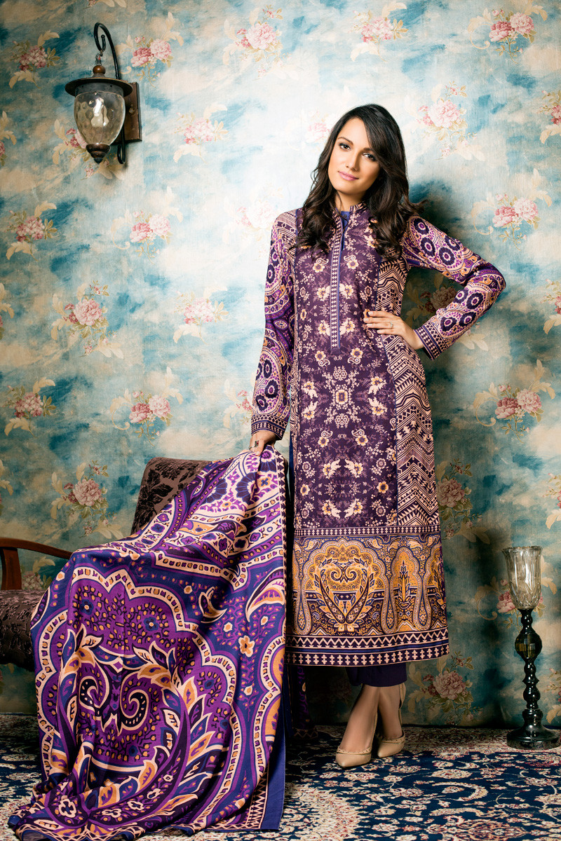 Gul Ahmed Fall Winter Lawn Collection K-2A For Girls