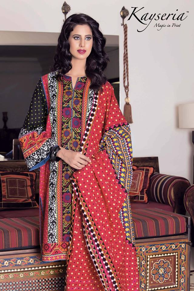 Kayseria Winter Printed Shawls Dresses Collection 2016