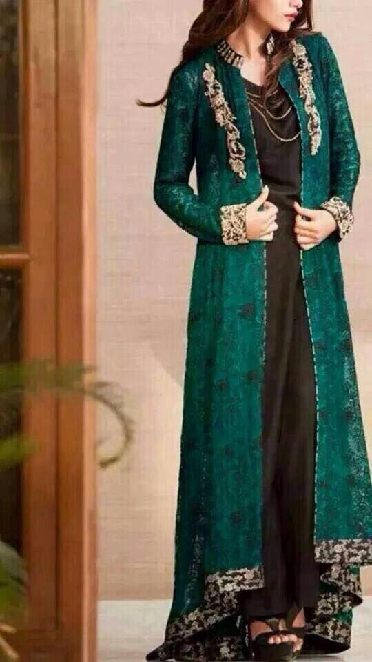Open Double Shirt Style Tail Gown Frock with Plazo Dress