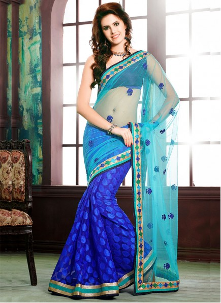 Royal Blue Designer Half N Half Saree