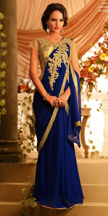 Royal Blue Golden Embroidered Designer Saree Gown