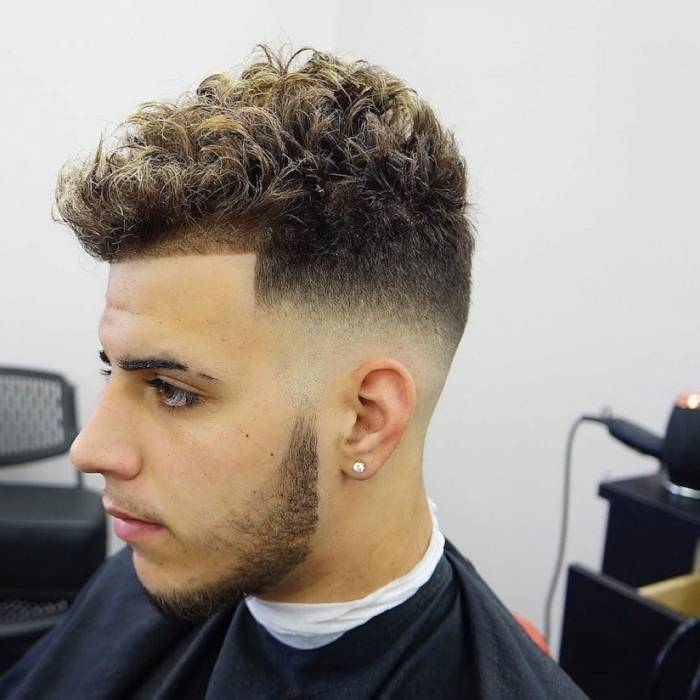Curly top fade