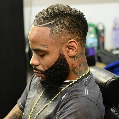 Nape fade with temple