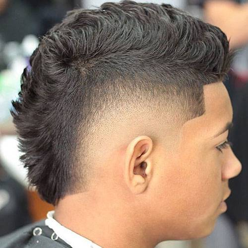 Side fades with faux hawk haircut