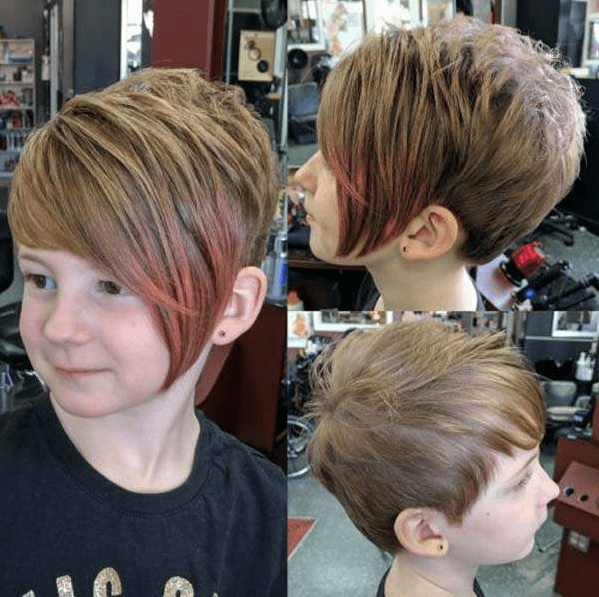 Side Parted Bob With Streaks For Little Girls